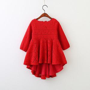 5250 dentelle rouge à manches longues princesse partie une ligne robes pour enfants pour bébés filles 2018 printemps vêtements pour enfants en gros vêtements