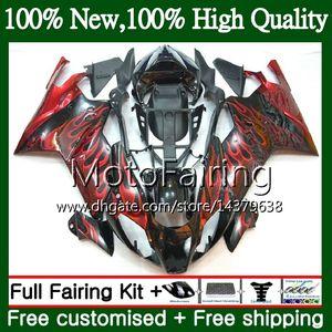 Red flames Body For Aprilia RSV1000R Mille RSV1000 RR 03 04 05 06 03 06 2MF13 RSV 1000R 03 2003 2004 2005 2006 RSV1000RR Fairing Bodywork