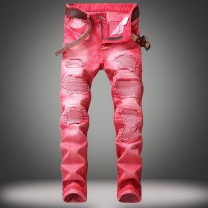 Yeni Erkek Kot High Fashion 5 Renk Yıkanmış Broken Jeans Sokak Stili Motosiklet Skinny Denim Pantolon Ripped