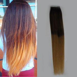 Ультрафиолетовая лента для волос в человеческих наращиваниях волос T2 / 27 2,5 г на штуку 40 штук Ombre Color Tape in Hair 100% Real Remy Human Hair Extensions