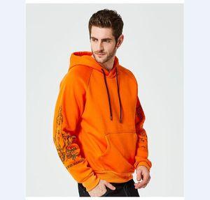 Hoodies Men Autumn Winter Hooded Sweatshirt Fleece Streetwear Hip Hop Men's Vintage Printed Big Pockets Sportswear