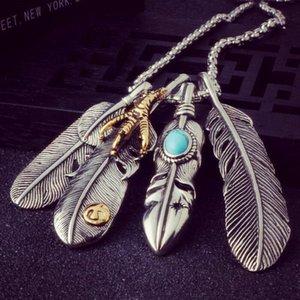 Plume Feuille Punk Pendentifs Collier chaîne pour les femmes / homme Personnalité Eagle Claw Collier bijoux vintage 6L5001