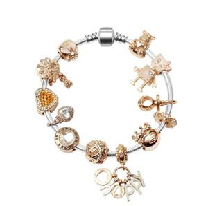 925 nouveaux argent diamants femme or rose Bracelet Fits Pandor européen Bijoux Charm Bracelets cadeau Saint Valentin Expédition gratuite