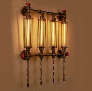 Pared de la luz de la lámpara E27 Edison Loft Industrial Hierro forjado Tubo LED LED de la lámpara de pared de luz lámpara de pared Para Bar Foyer dormitorio LLFA