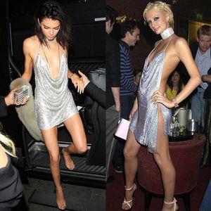 Célébrité Robe de soirée Robe de soirée Labourjoisie Kendal Jenner Argent Argent Crystals Argent Kim Kardashian