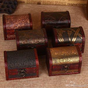 Estilo Vintage de madeira Jewelry Box Mini teste padrão de flor caixas de armazenamento Handmade Para melhor casamento presentes de aniversário 3 4cz ZZ