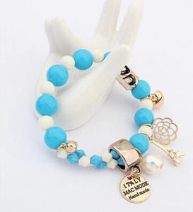 Encantos Wrap barato Gemelos Cristal perla de los granos simulados Corazones Fuerza Elástica pulsera para las mujeres joyería al por mayor LIBRE de DHL