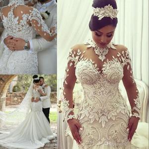 2019 Арабские платья русалки труба свадебные платья с высоким вырезом и длинными рукавами 3D цветочные аппликации кружевные многоуровневые юбки свадебные платья Sweep Train