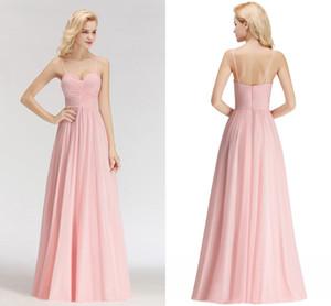 Sexy reale Abbildungen Rosa 2019 neue Ankunft preiswerte Brautjungfernkleider Spaghettitrgern Backless Hochzeitsgast Prom Abendgarderobe Kleid BM0046