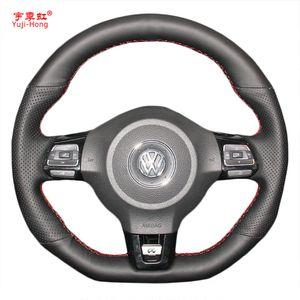 يغطي Yuji-Hong Car Steering Case for VW Golf 6 GTI MK6 VW Polo GTI Scirocco R Passat CC R-Line 2010 جلد صناعي