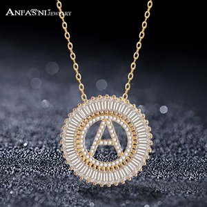 ANFASNI Fashionable Clear CZ 26 Word English Letter Necklaces & Pendants For Women Alphabet Jewelry Colar Feminia S030110