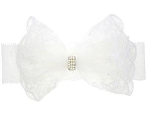 pizzo fiocco fascia del bambino Pure perle acriliche pizzo bianco hairband elastico neonati foto copricapo puntelli B11