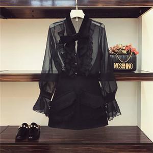2018 ربيع المرأة مثير منظور أسود قميص القوس المخملية بلوزة + الصوف تويد تنورة اثنين من قطعة بدلة تنورة السيدات