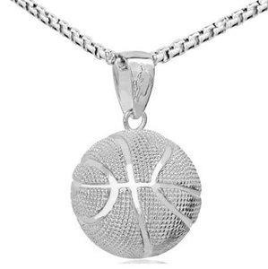 3D Basketball Halsketten Silber Farbe Anhänger Sport Hip Hop Schmuck homme Edelstahl Kette Für Männer Fathes Day Geschenke
