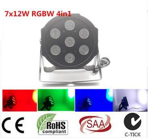 4pcs / lot LED Par 7x12W RGBW LED 4en1 luxe DMX 8 canaux LED Lights Flat Par