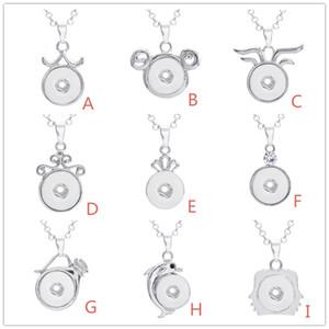 Piezas de Noosa Snap Jewelry Collar de botón plateado a presión Fit 18MM Botón de ajuste DIY Jewelry With Chain de acero inoxidable
