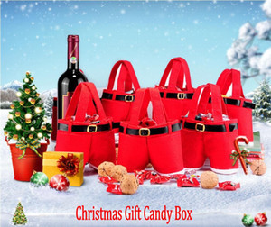 Merry Christmas Gift Treat Candy Bottiglia di vino Santa Claus Suspender Pants Pantaloni Decor Christmas Portable Candy Gift Wrap