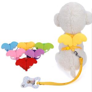 작은 개 고양이 날개 조절 개 하네스 애완 동물 액세서리 귀여운 천사 애완 동물 개 가죽 끈과 목걸이 세트 강아지 리드