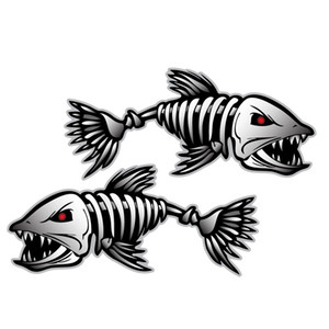 Car Styling Skeleton 2pcs Skeleton Fisch Boot Aufkleber Aufkleber Fischerboot Grafiken Wassersport Rudern Autofenster Zubehör