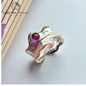 Lotus momento divertido reales plata de ley 925 Natural turmalina joyería hecha a mano del diseñador de moda abren los anillos de la hoja para las mujeres Bijoux