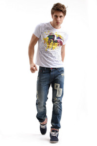 Slim Fit Ripped Jeans Men Hi-Street Mens Distressed Denim Joggers Knee Holes Washed Destroyed Jeans Plus Size J180303