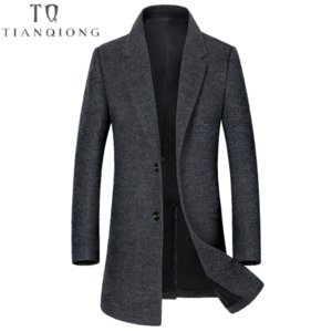 TIAN QIONG  Thick Warm Men's Business Gentleman Casual Wool Coat 2018 Winter New Style Lapel Two Buckles Long Wool Coat