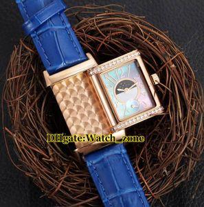 Orologio da donna Reverso Reverso quarzo svizzero con quadrante blu orologio da donna cassa in oro rosa cinturino in pelle con diamanti cinturino in pelle orologi moda donna