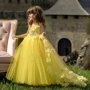 Robe De Bal Jaune Tulle Princesse Fleur Filles Robes Pour Mariage Enfants 2019 New Cheap Girls Toddler Pageant Robes Avec Des Fleurs À La Main