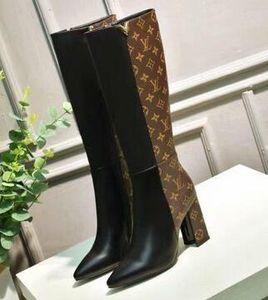 2019 Marca de Tornozelo de Couro Preto Longo Botas Mulheres Apontou Toe Carta Sapatos de Salto Alto Mulher Moda Pista de longo Botas