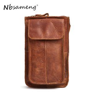NBSAMENG Pack de ceinture en cuir véritable Sac de ceinture Sac de téléphone Sac de voyage Sac de poche pour homme en cuir