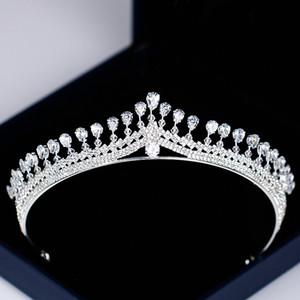 Mulheres de luxo princesa crown headband de strass cristal tiara e coroa de cabelo faixa de cabelo jóias de prata nupcial acessórios para o cabelo