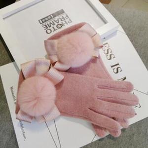 des gants pour les femmes cinq gants doigts rose bowknot Venonat golves écran tactile belle gants de laine sans mode chaud de l'expédition