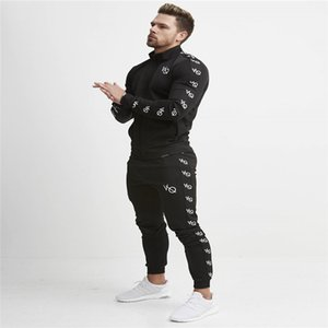 Cross-border sport for muscle brothers fitness men's print zippers casual leggings spring trousers in autumn and winter