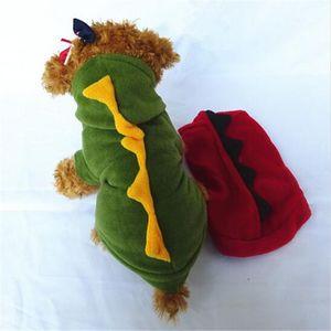 CW017 animal doméstico suministra ropa de perros gato cachorro dinosaurio bonita linda del animal doméstico sudaderas con capucha de los trajes de la ropa de lana camiseta de mascotas ropa para perros