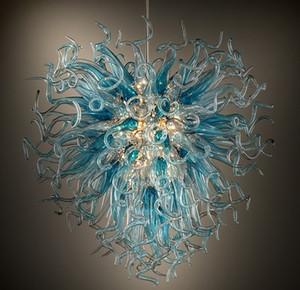 Pendente di vetro soffiato Lampada a sospensione moderna lampadario di cristallo di illuminazione di Zhongshan unico produttore luci multi colore 28 pollici ha condotto le lampadine
