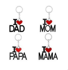 Ich liebe Papa Mama Mama Papa Schlüsselbund Brief rotes Herz Liebe Schlüsselanhänger Ringe Modeschmuck für Mutter Vater Geschenk 60 Stk