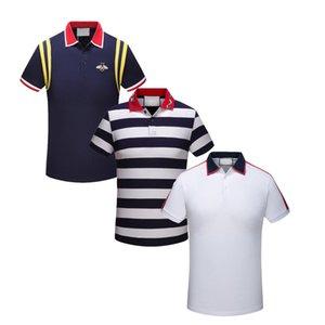 Bordado T-shirt dos homens de Nova Marca de Moda Italiana Poloshirt Camisa dos homens de Alta Cobra Pequena Abelha Tigre-modelado Camisa Polo dos homens