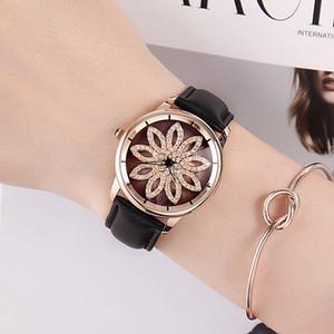 Nueva GUOU lady Crystal Rotation Watch Mujer Correa de cuero de lujo Vestido de reloj Moda Oro Rosa Relojes Mujer Relojes de pulsera de cuarzo Horas Reloj