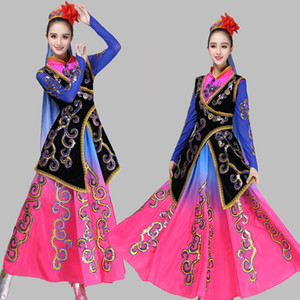 Chinese Minority long dress New style Xinjiang national female clothes Traditional Chinese Folk dance costumes women Ethnic stage wear