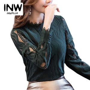 2018 Nouvelle Mode Printemps Dentelle Blouses et Chemises Femmes À Manches Longues Évider Blusas Dames Plus La Taille Chemises Femme Tops Dentelle