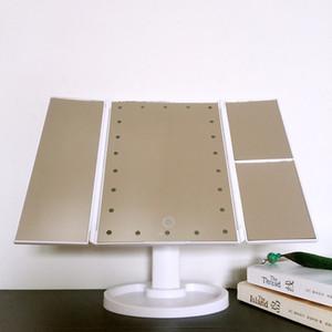 3 складной сенсорный экран макияж светодиодные зеркало Косметическое зеркало с 1x/2X / 3X Desktop увеличительное зеркало 180 вращающийся для макияжа