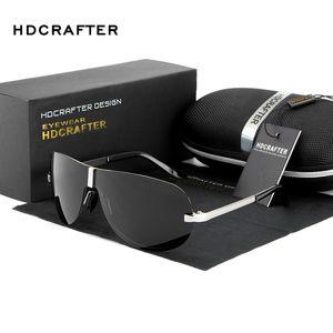 HDCRAFTER Rimless очки мужчина поляризованные UV400 дизайна пилот выпученными вождение солнцезащитных очков для мужчин мужских классических