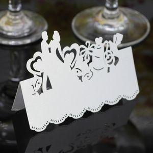 Laser Cut Place Cartes Carte De Nom De Papier Creux Avec Les Amoureux Pour La Fête De Mariage Des Cartes De Sièges De Mariage De Table Décorations PC2005