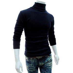 Fashion Autumn Winter Mens Sweaters 2018 Casual Male Turtleneck Man'S Black Solid Knitwear Slim Fit Brand Clothing Sweater
