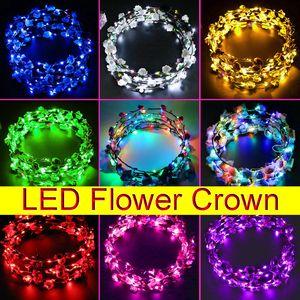 Crown Cabelo LED Lighting Coroas Mulheres Flower Luminous Headbands Headwear para o casamento Crianças Night Market Brinquedos incandescência Garland Chefe Ornamentos