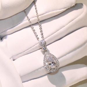 Top Venda Por Atacado Profissional de Luxo Jóias Colar de gota de Água 925 Sterling Silver Pear Forma Topázio CZ Pingente De Diamante Para As Mulheres Presente
