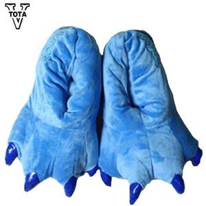 11 Color Divertido Animal Pata Unisex Zapatillas Mujer Zapatillas Lindas de Dibujos Animados Suave Felpa Caliente Zapatillas de Casa