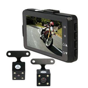 Cámara dual de 3 pulgadas Motocicleta DVR 720P IR Cámara de visión nocturna Moto G-sensor 120 grados de ángulo amplio Grabador de video Cámaras Dash