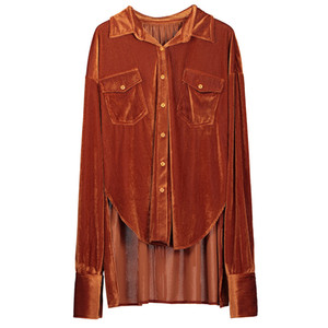 Clocolor Long Sleeve Shirt Fashion Women Streetwear High Low Casual Loose Velvet Autumn Winter Female Top Stylished Blouse Shirt