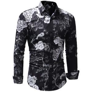 2018 Moda Marka Erkek Uzun Kollu Hawaiian Gömlek Yaz Erkekler Için Rahat Giysiler Çiçek Gömlekler XXXL Camisa Masculina